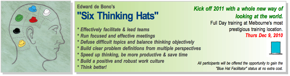 Creative Cognicion In Collaboration With Think Quick Are Offering A De Bono 6 Hats Training Workshop On December 9 Registration De S Can Be Found By